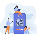 Tiny people using QR code for online payment isolated flat vector illustration. Cartoon infographic characters using smartphone for scan of QR code. Digital wallet and modern technology concept